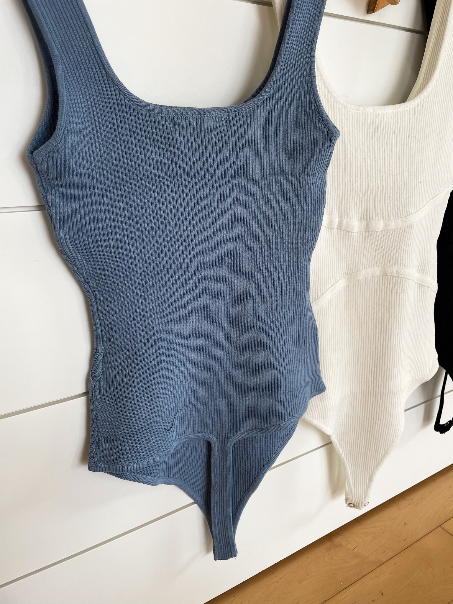 Basic Rib Knit Flutter Strap Bodysuit