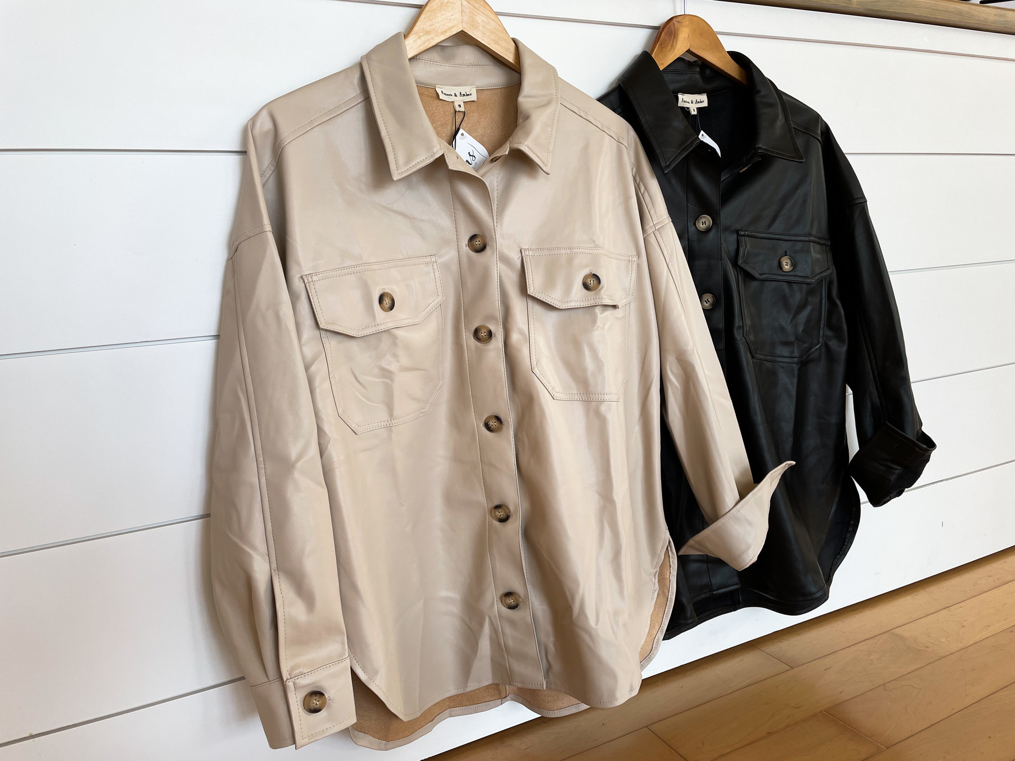 Faux Leather Button Up Shacket