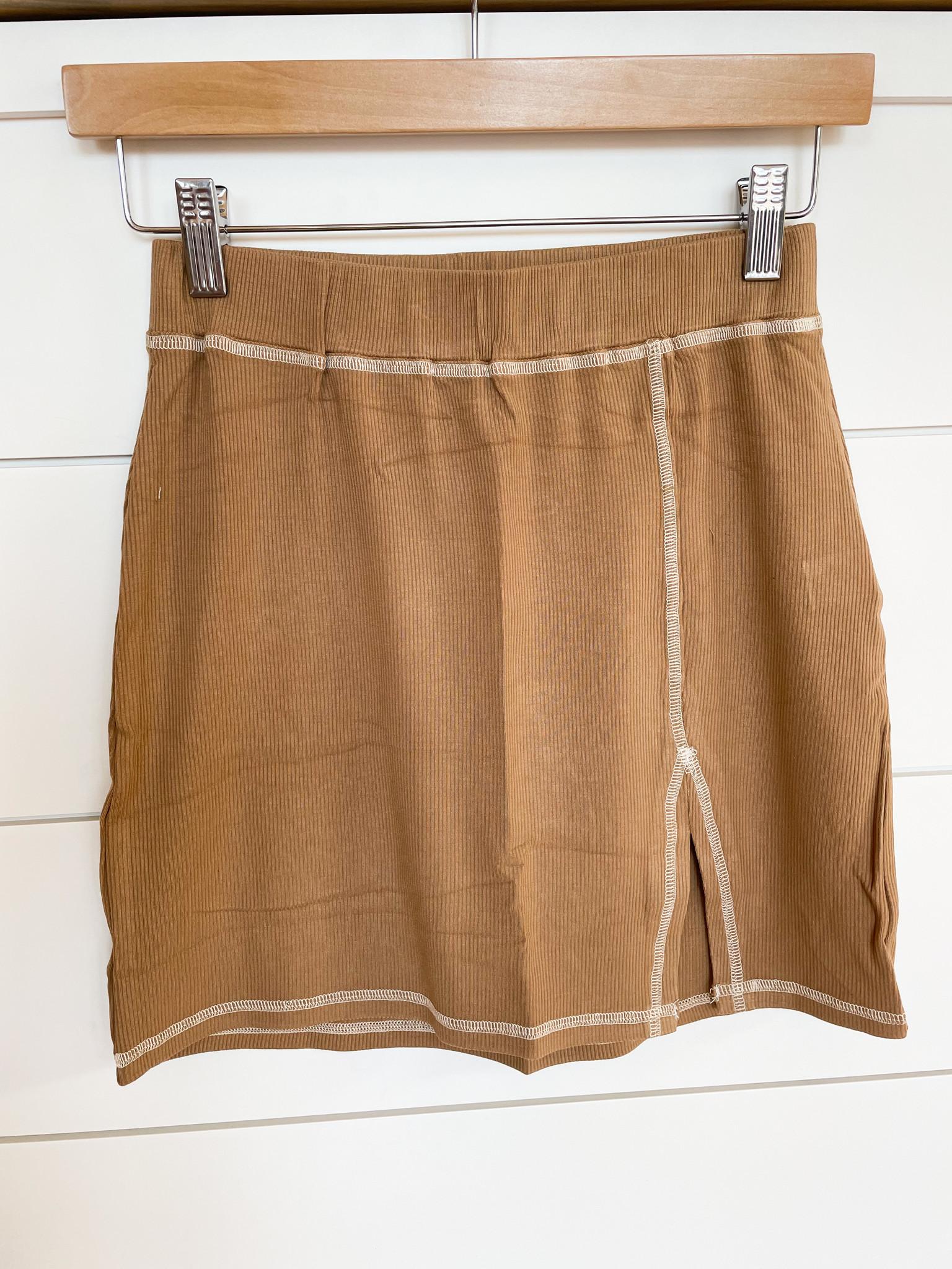 Caramel Contrast Stitch Knit Skirt