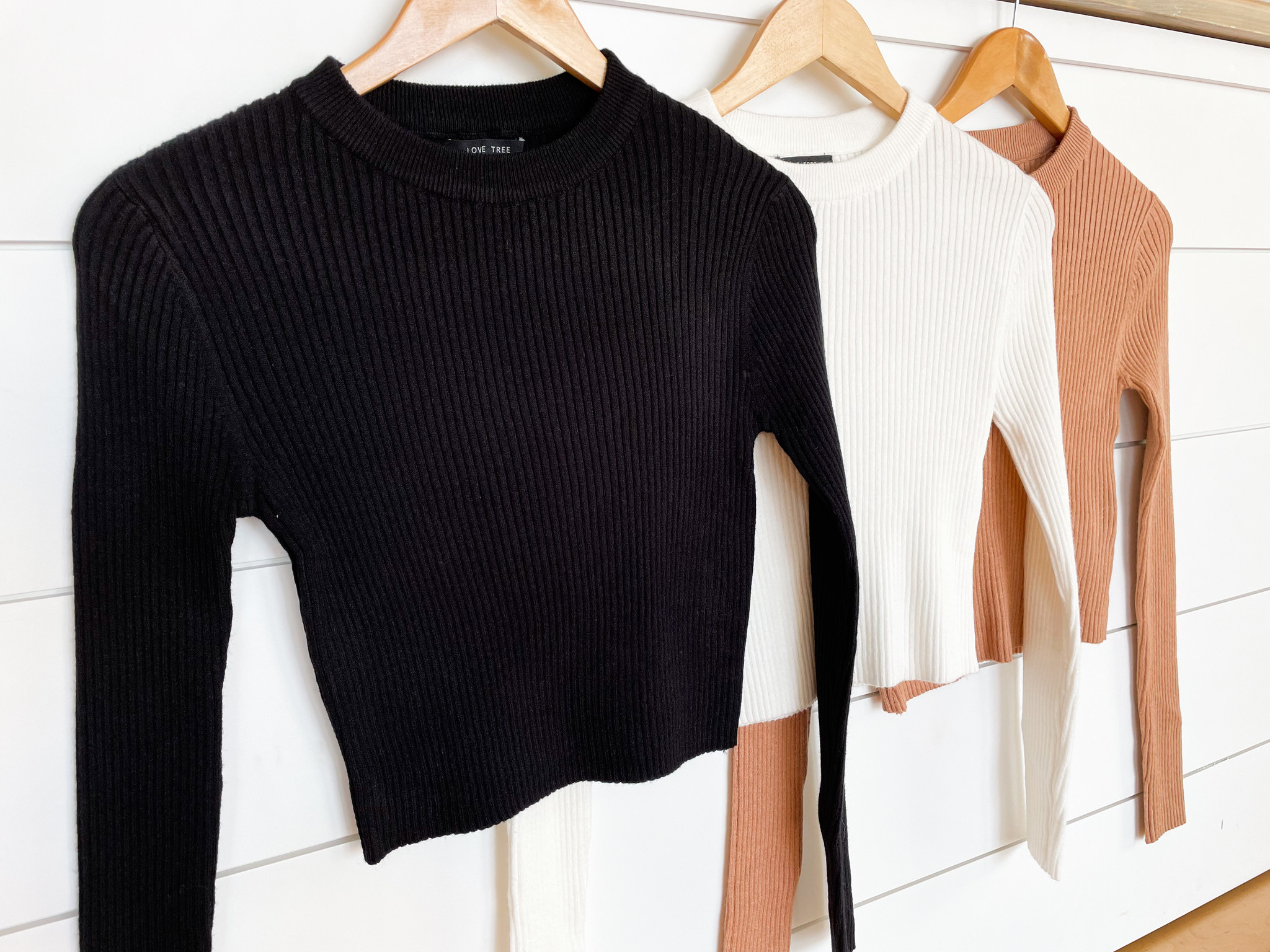 Rib Knit Long Sleeve Basic Crop Top