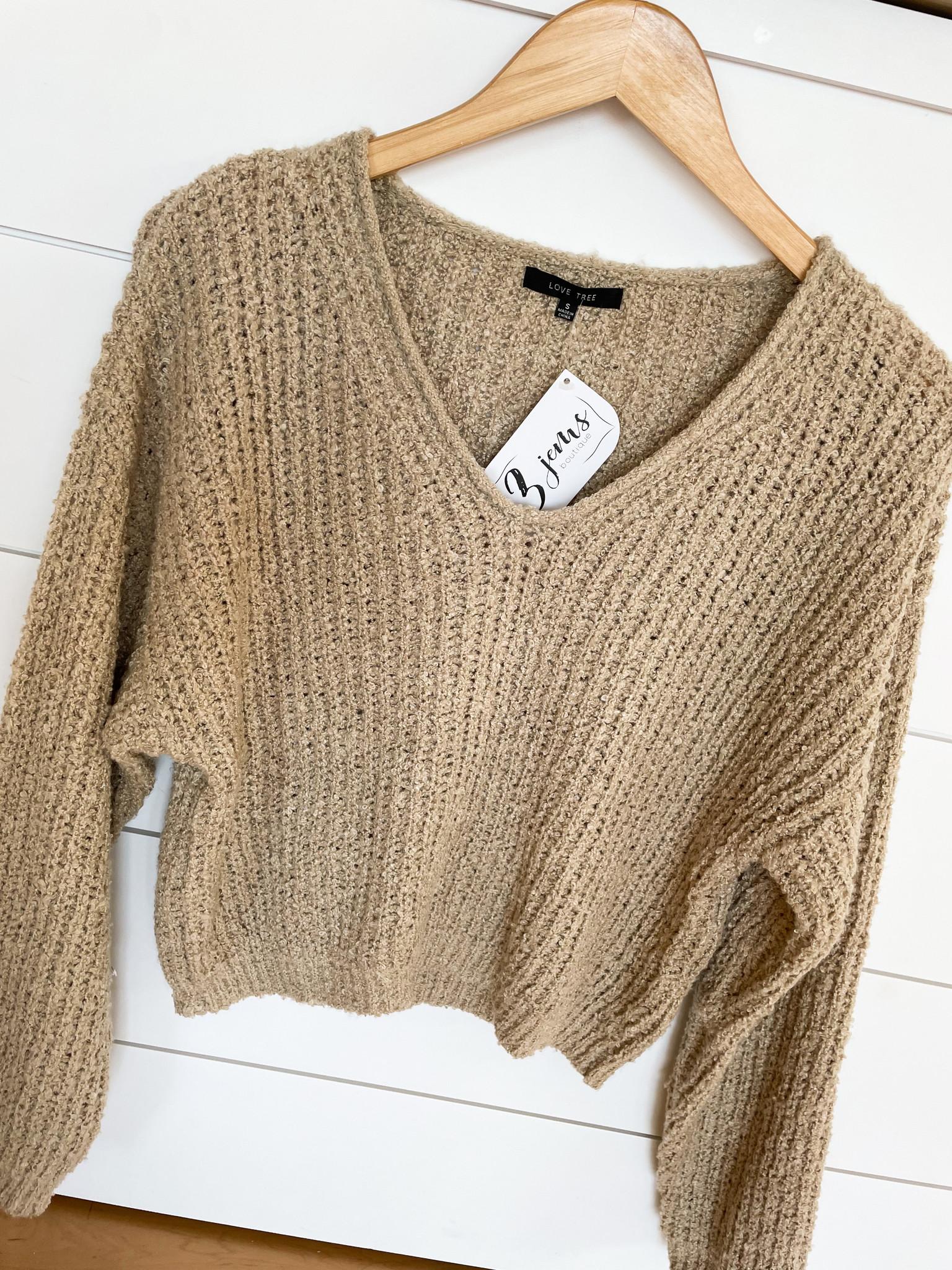 Khaki Texture V-Neck Cropped Sweater