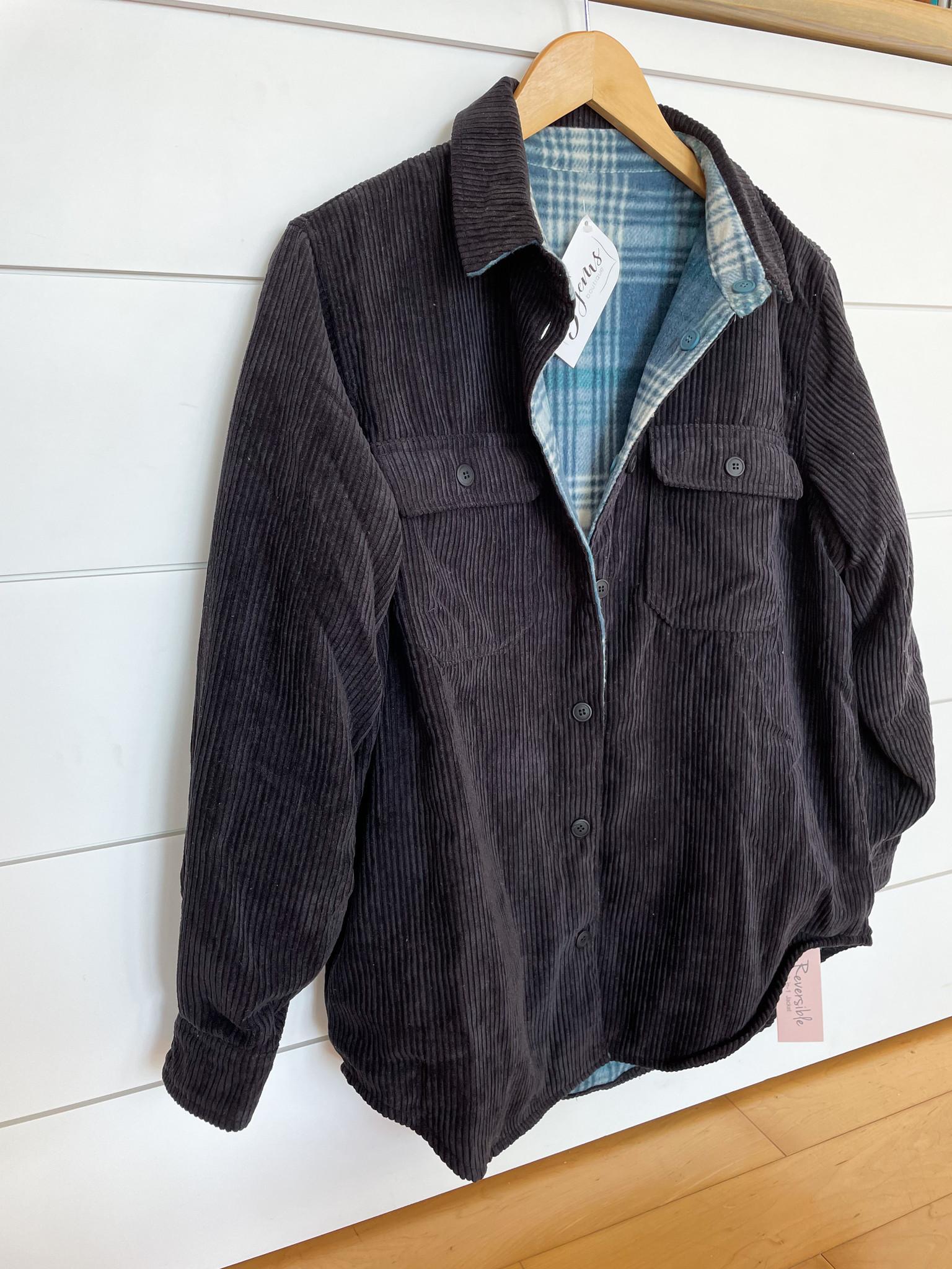 Black Corduroy Checkered Reversible Button Down Jacket