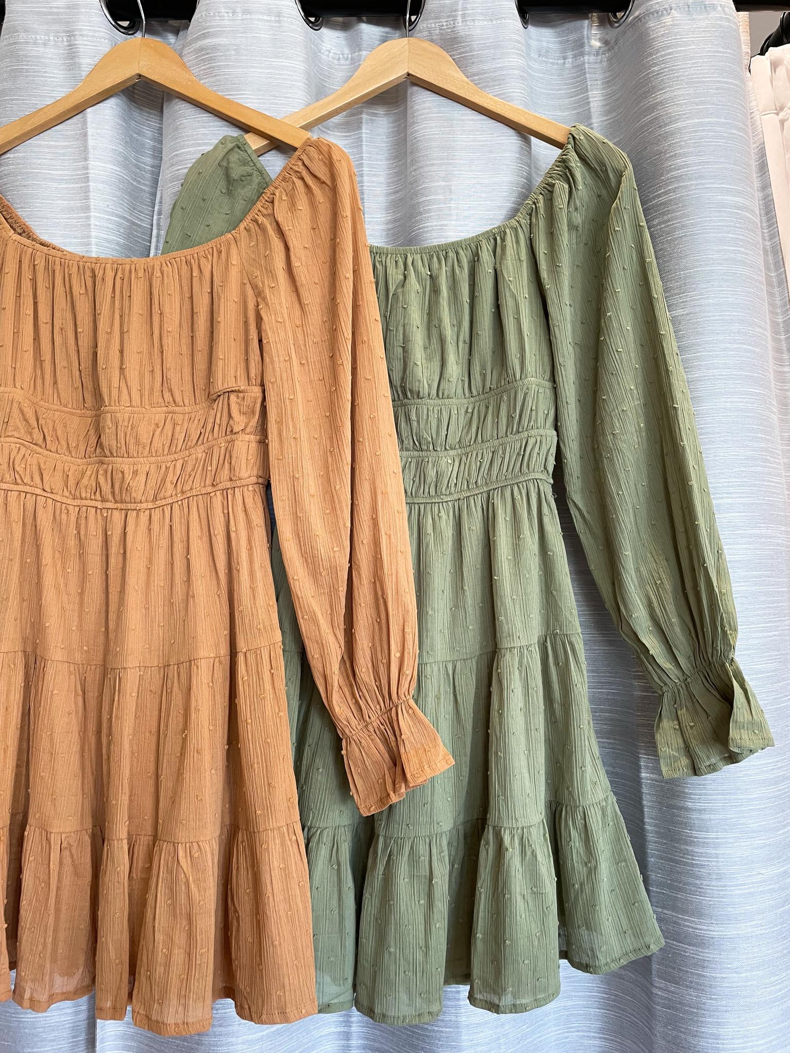 Peach Love California Square Neckline Cotton Dot Dress
