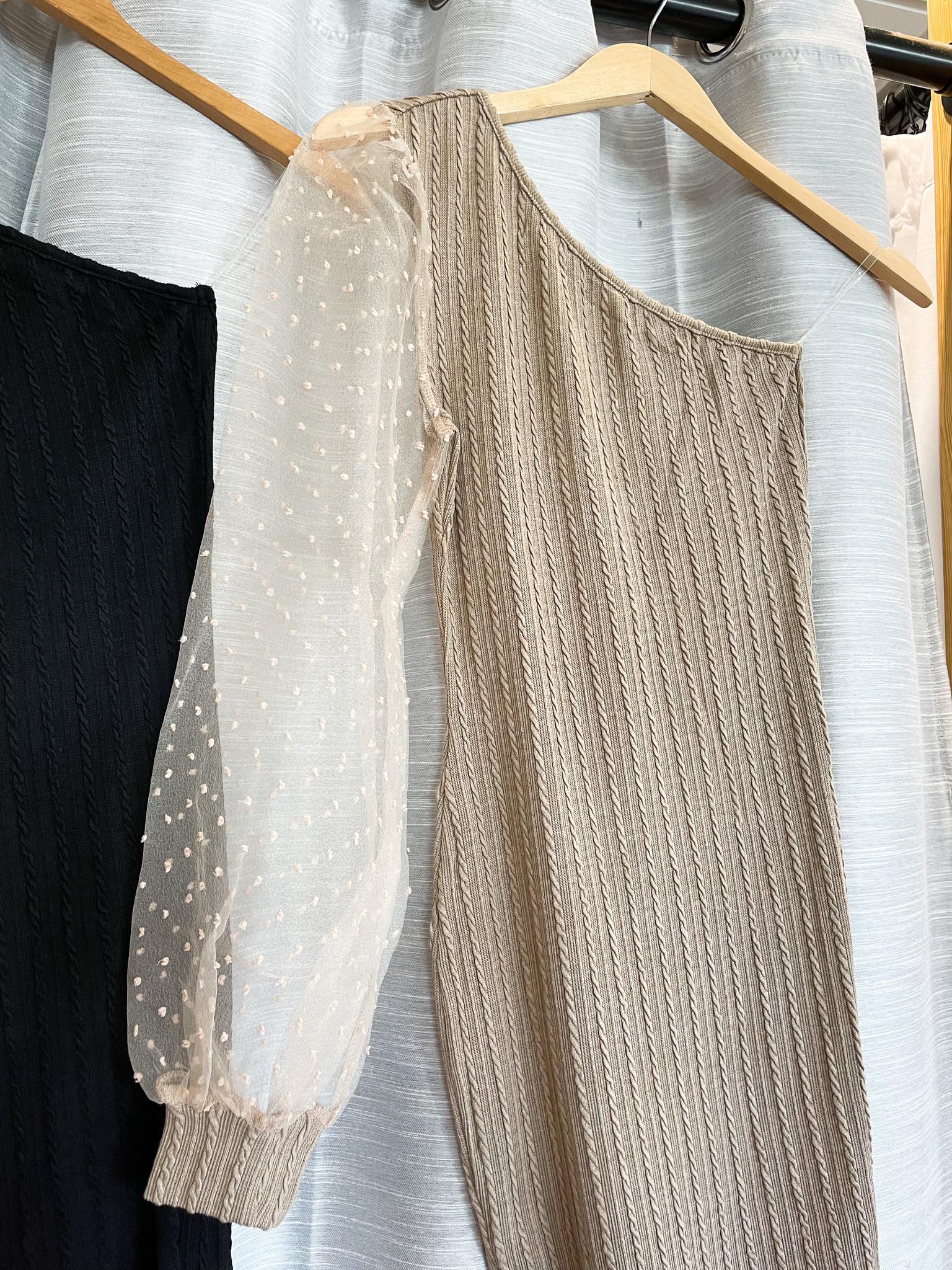 Peach Love California One Shoulder Knit Cabel Dress W/ Puff Sleeve