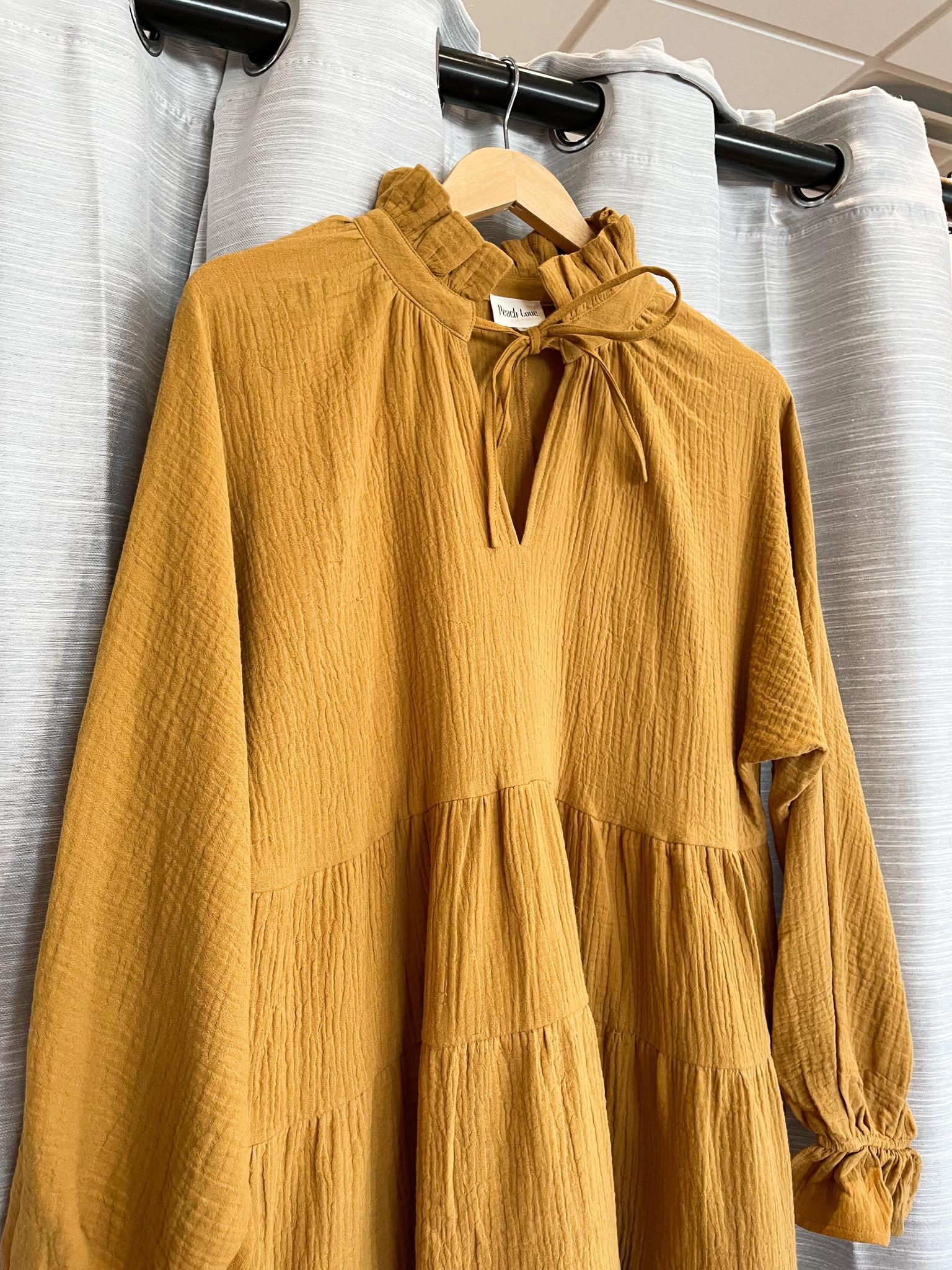 Peach Love California Butterscotch Dress w/ High Neck Detail