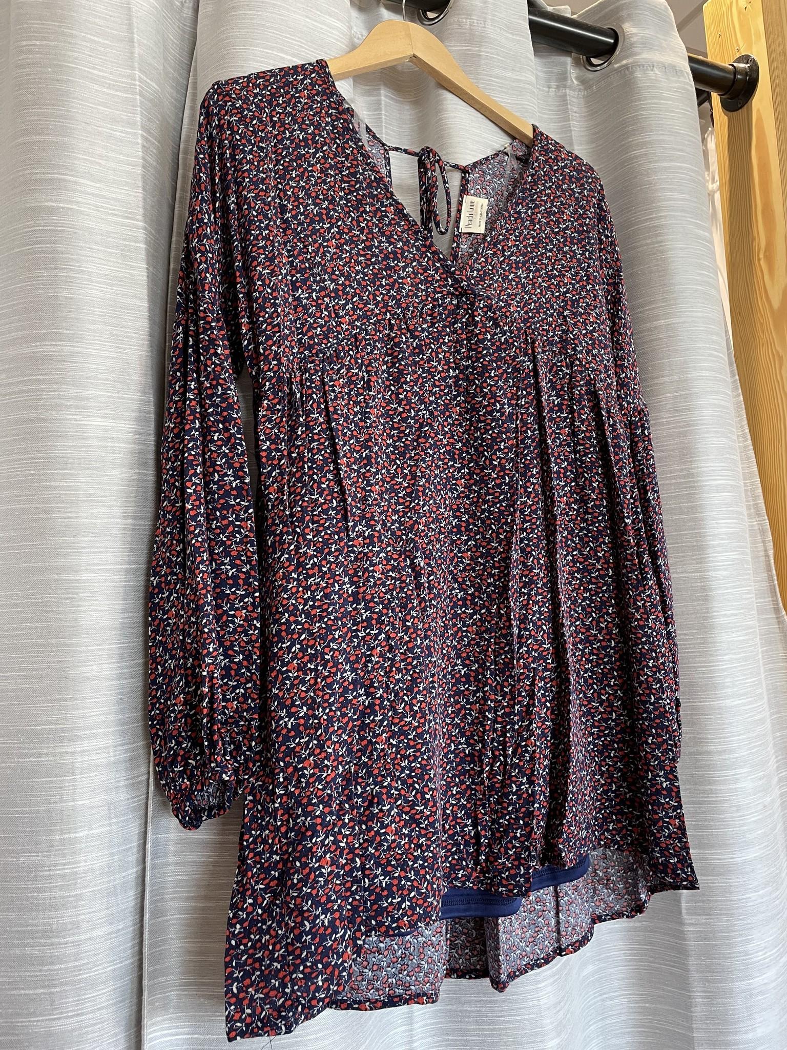 Blue / Red / Ivory Flower-Printed Long-Sleeve Dress