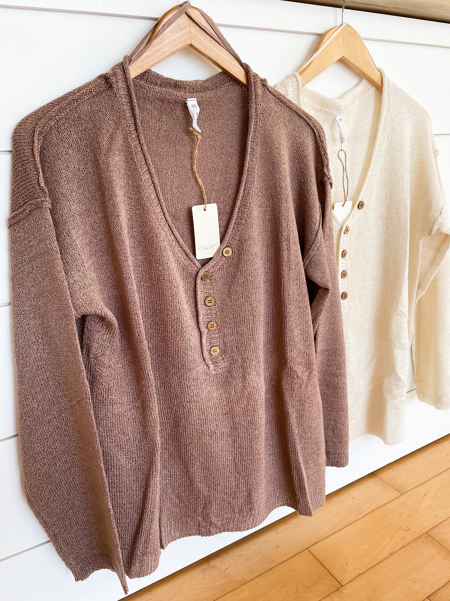 Oversized Half Button V-Neck Sweater