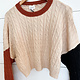 Ivory/Rust/Black Cropped Cable Knit Sweater