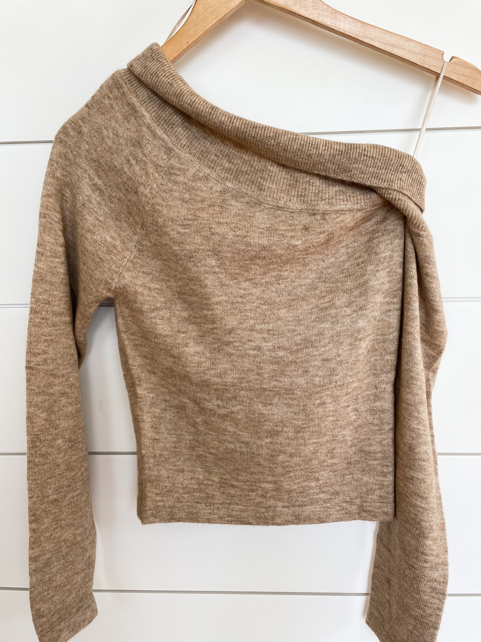Slouchy Off Shoulder Long Sleeve Knit Top