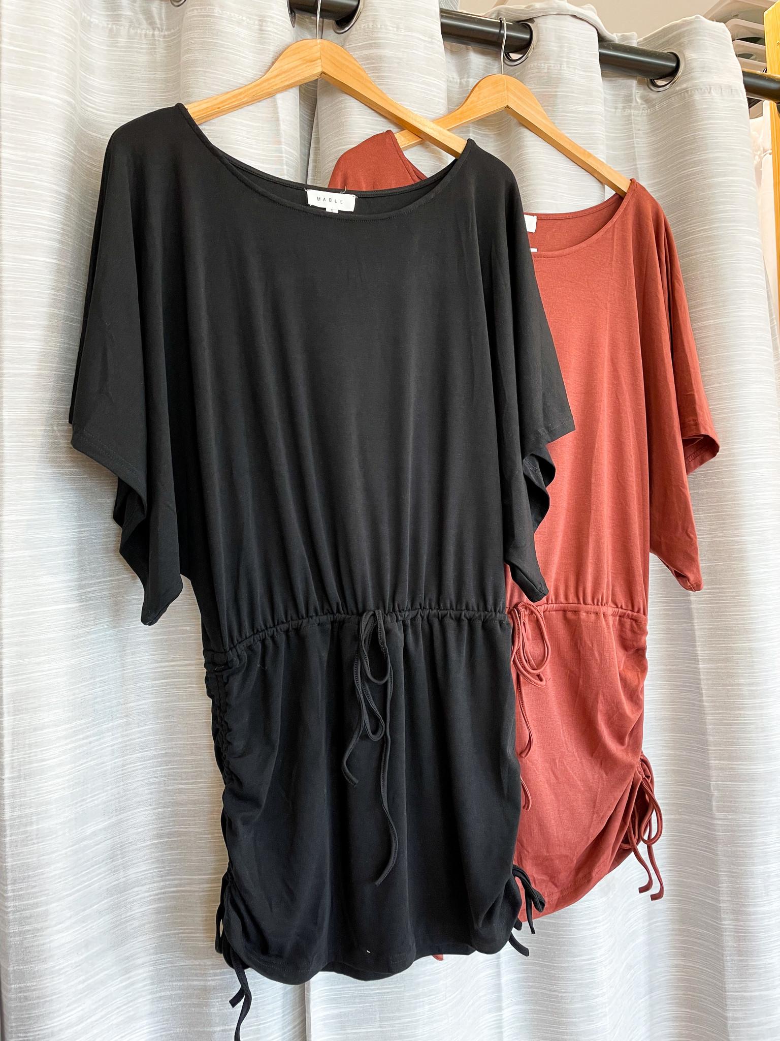 Mable Dolman Sleeve Mini Dress w/ Side Skirt Drawstring