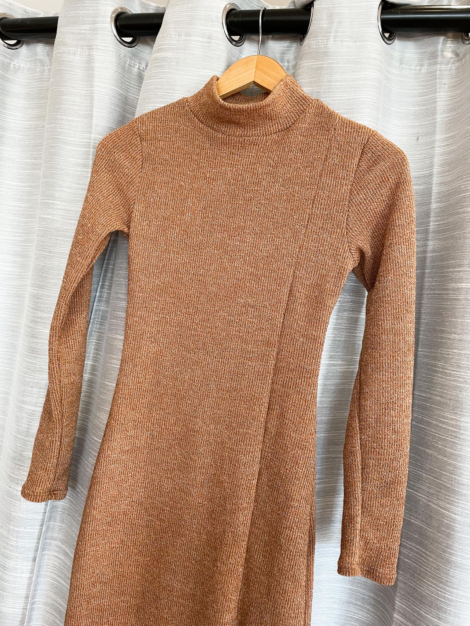 Camel Mockneck Longsleeve Midi Dress w/ Side Slit