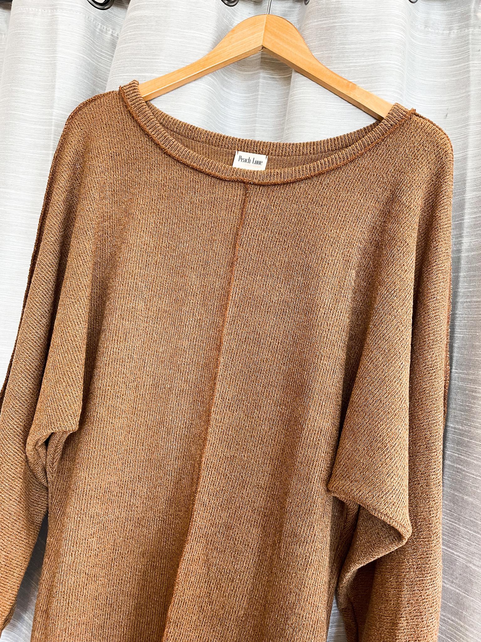 Long Sleeve Mocha Sweater Dress w/ Contrast Stitching