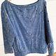 Denim Washed Knit Open Shoulder Top w/ Laser Cut Detail
