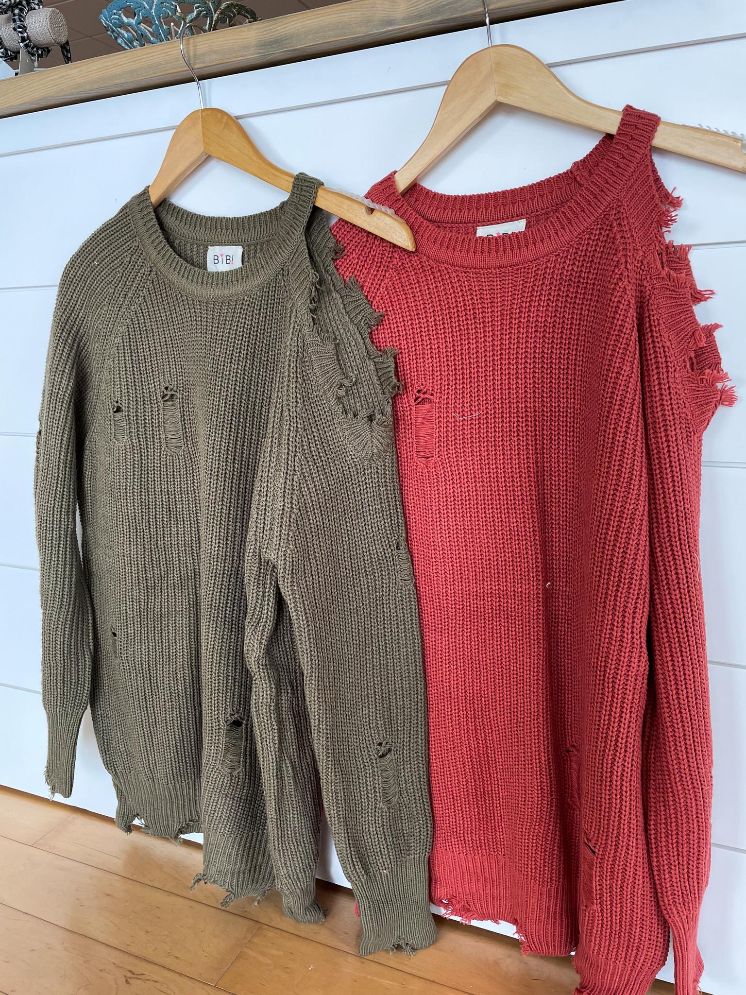 Cutout Shoulder Sweater