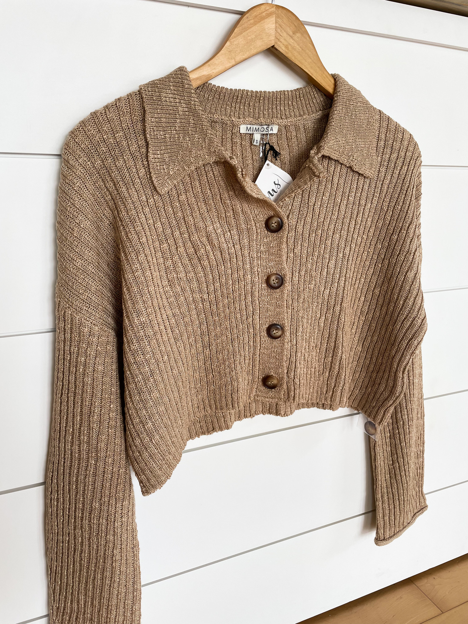 Taupe Slouchy Button Front Cropped Cardigan