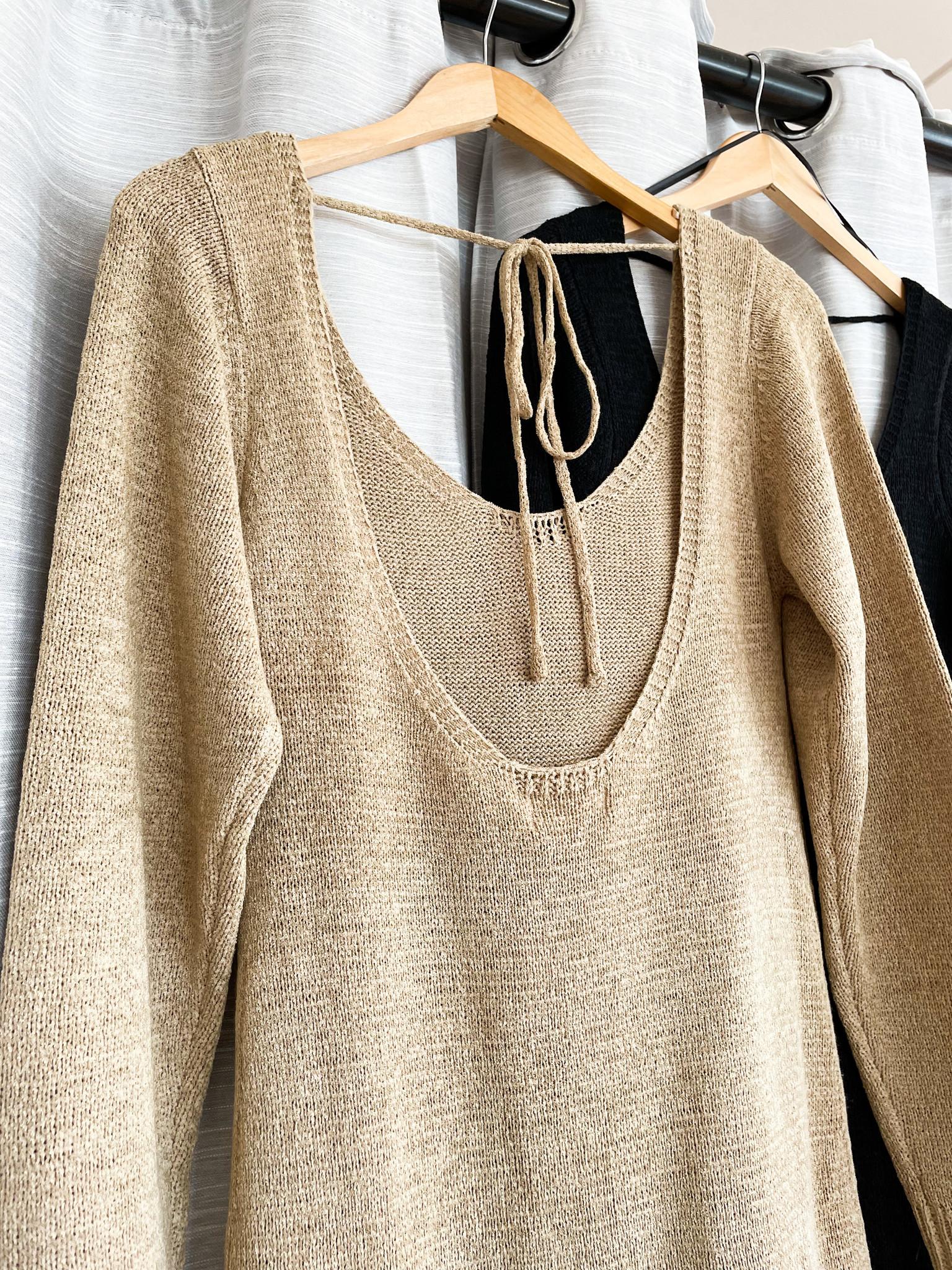 Open-Back Knit Sweater Dress
