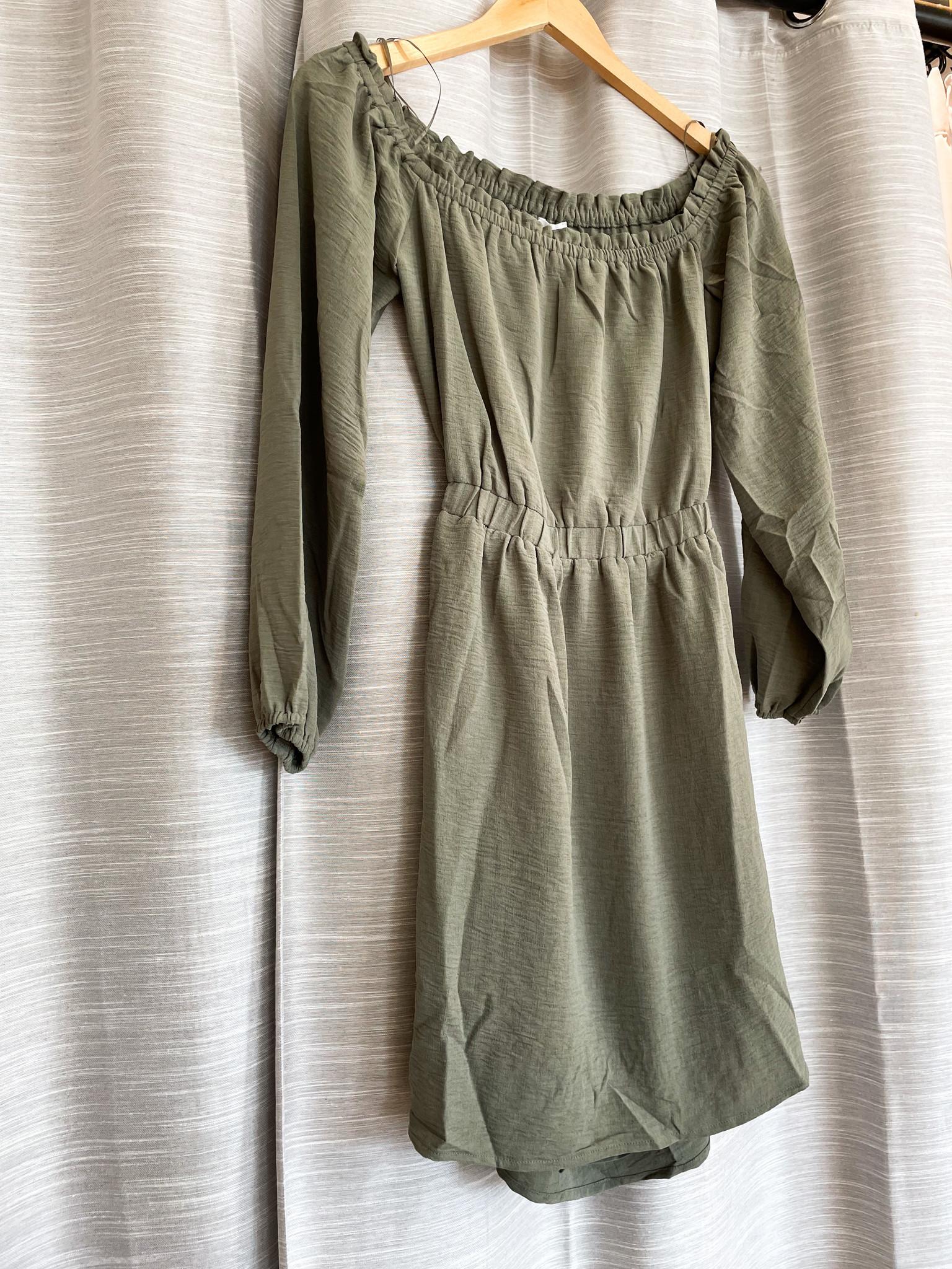 Olive Off Shoulder Balloon Sleeve Mini Dress
