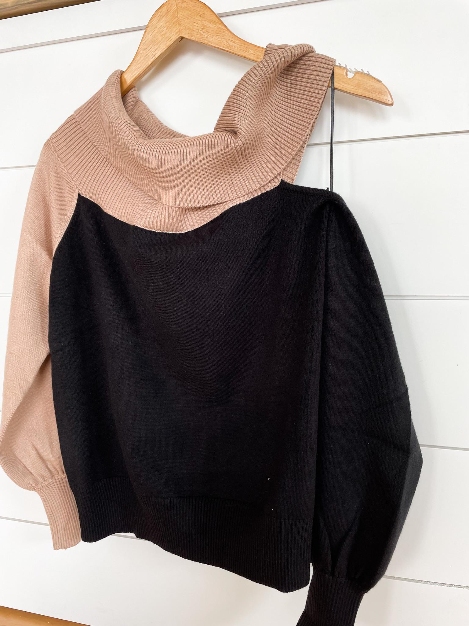Black/Taupe Color Black Off Shoulder Sweater