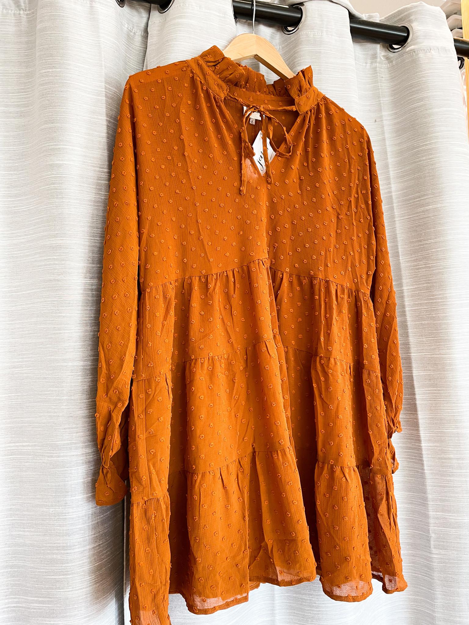 Peach Love California Rust Dress w/ Swiss Dot & High Neck Detail