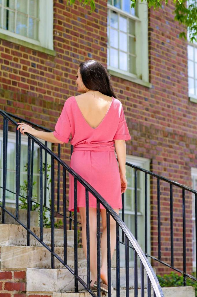 Cherish Coral Low Back Waist Tie Dress