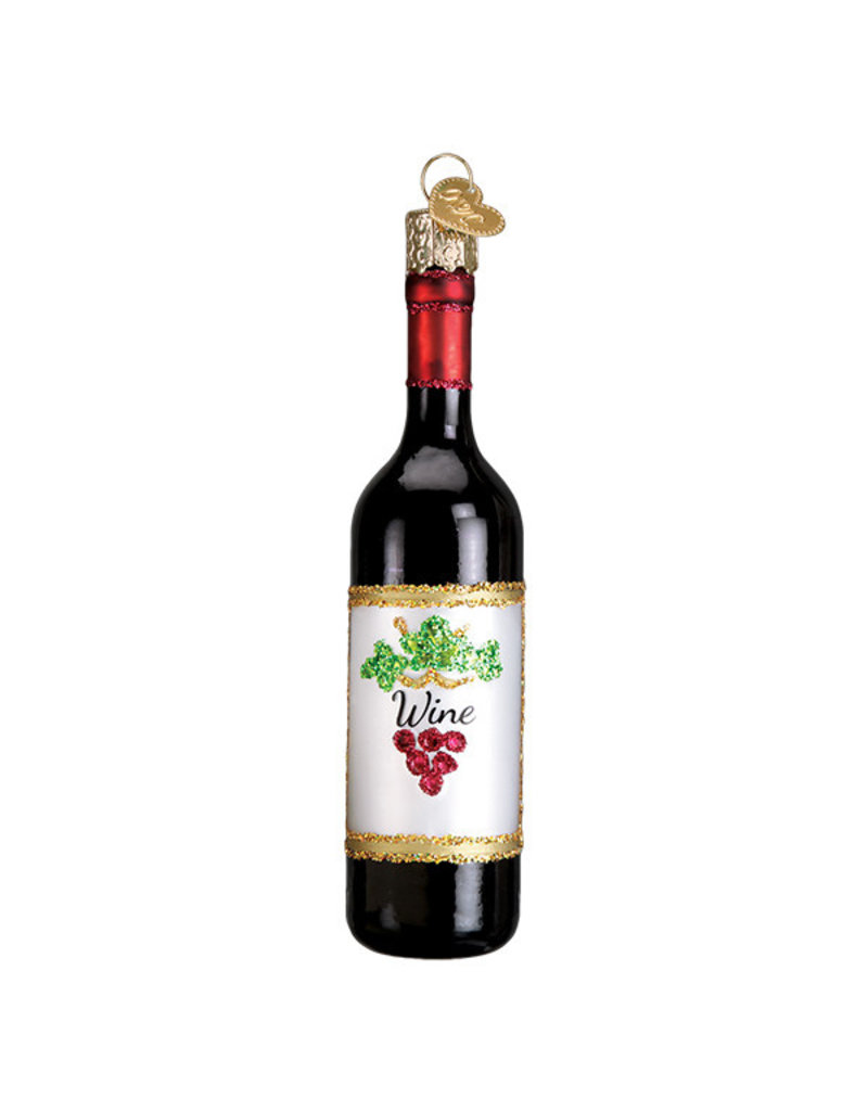 Old World Christmas Red Wine Bottle