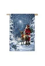 Starry Night Santa House Flag