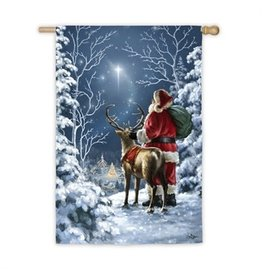Starry Night Santa House Flag