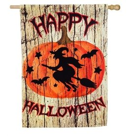 Witch on Broom House Flag