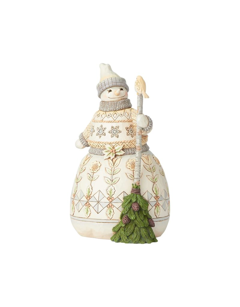 Jim Shore Woodland Snowman Holding Broom
