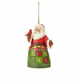 Jim Shore Mini Santa with Cardinal Ornament