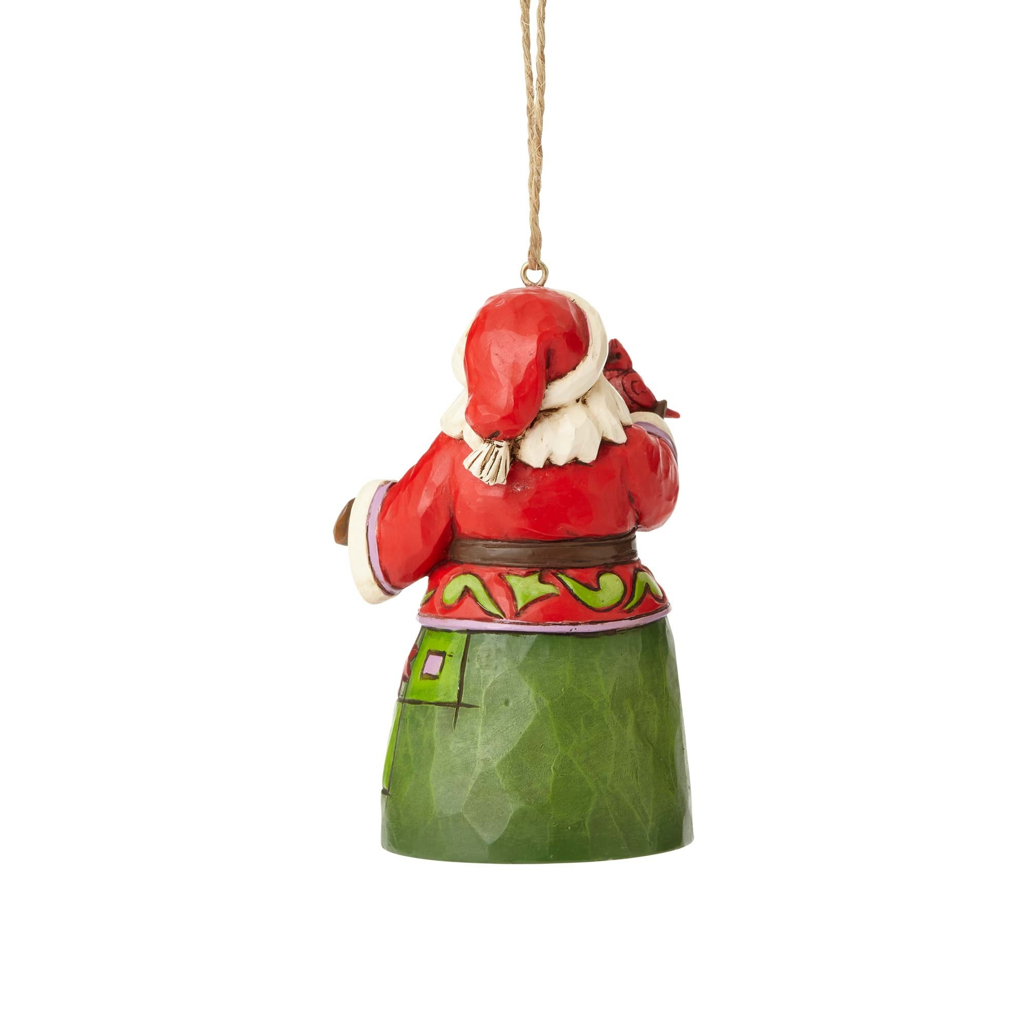Jim Shore Mini Santa with Cardinal Ornament