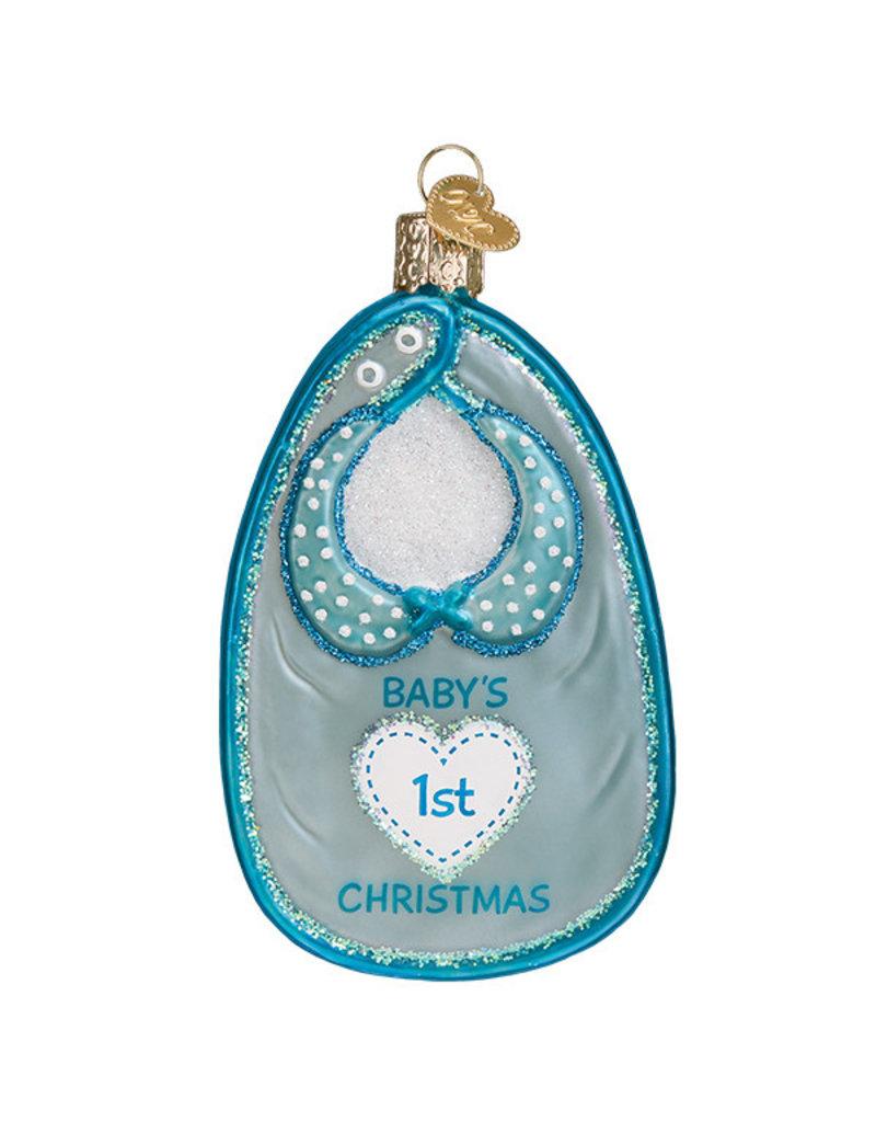 Old World Christmas Blue Baby Bib