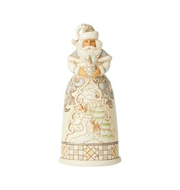 Jim Shore White Woodland Santa with Globe