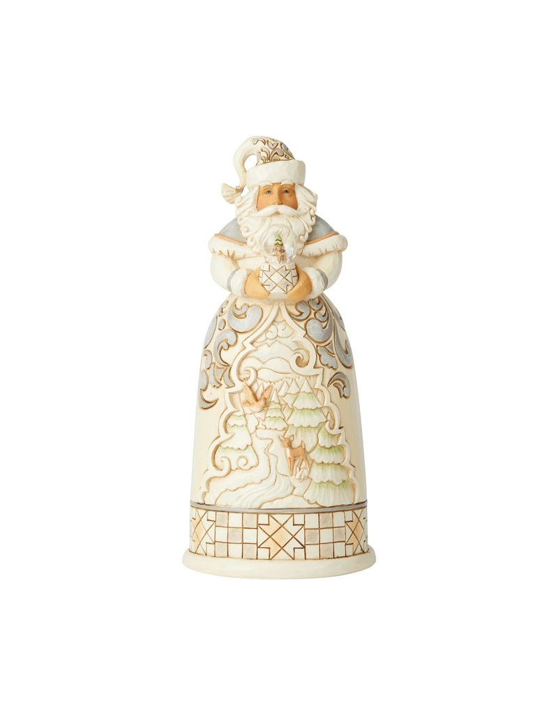 Jim Shore White Woodland Santa with Globe