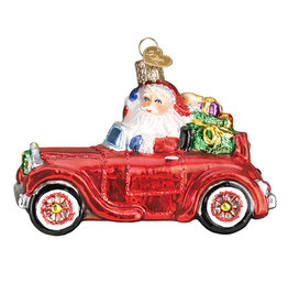 Old World Santa Santa in Antique Car