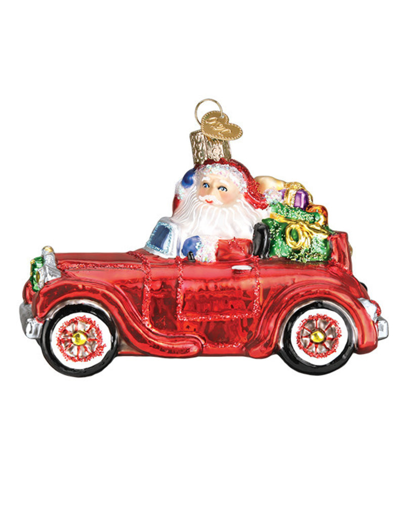 Old World Santa Santa in Antique Car