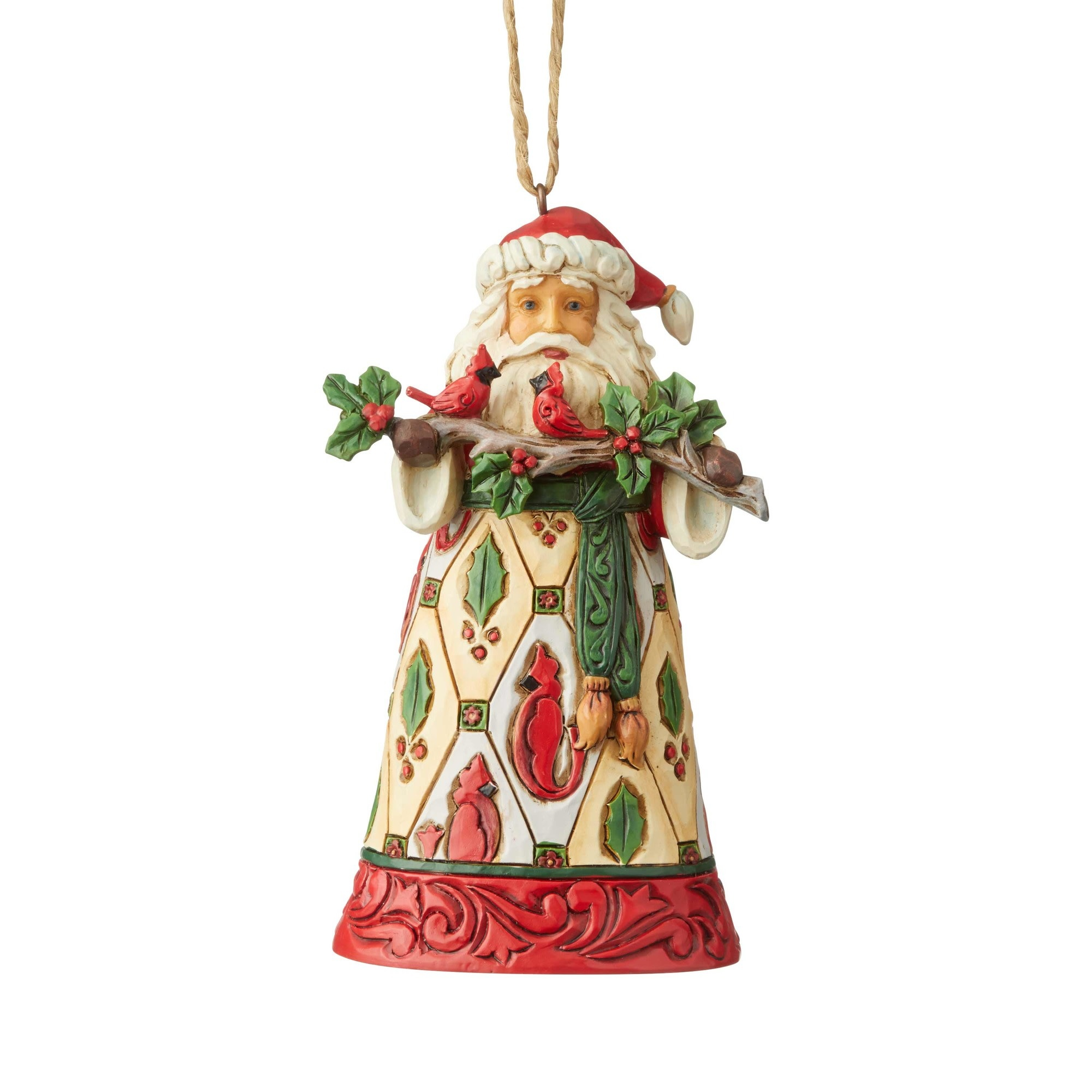 Iim Shore Santa with Cardinals Ornament