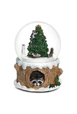 Raccoon Christmas Tree Musical Snowglobe
