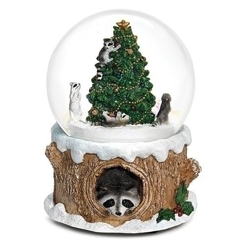Raccoon Christmas Tree Musical Snowglobe