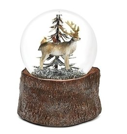 Wood Base Deer Musical  Snowglobe