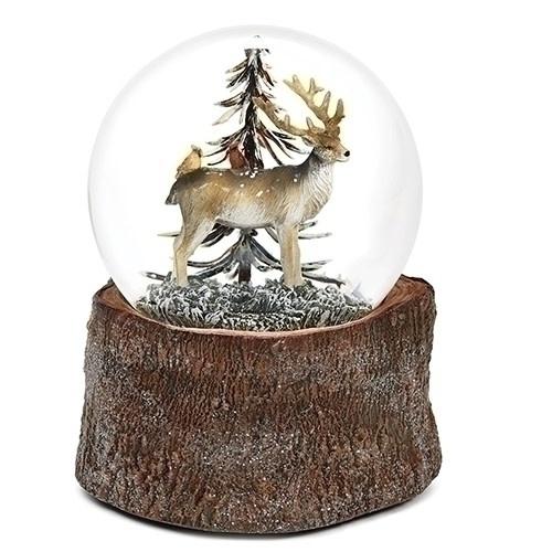 Wood Base Deer Musical  Snowglobe