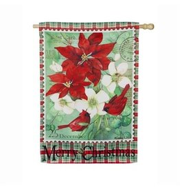 Christmas Floral House Flag