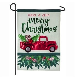 Holiday Red Truck Garden Flag