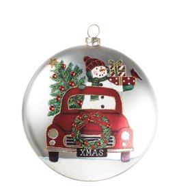 Snowman in Red Truck Disc