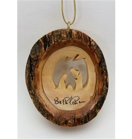 Round Bark Holy Family Ornament