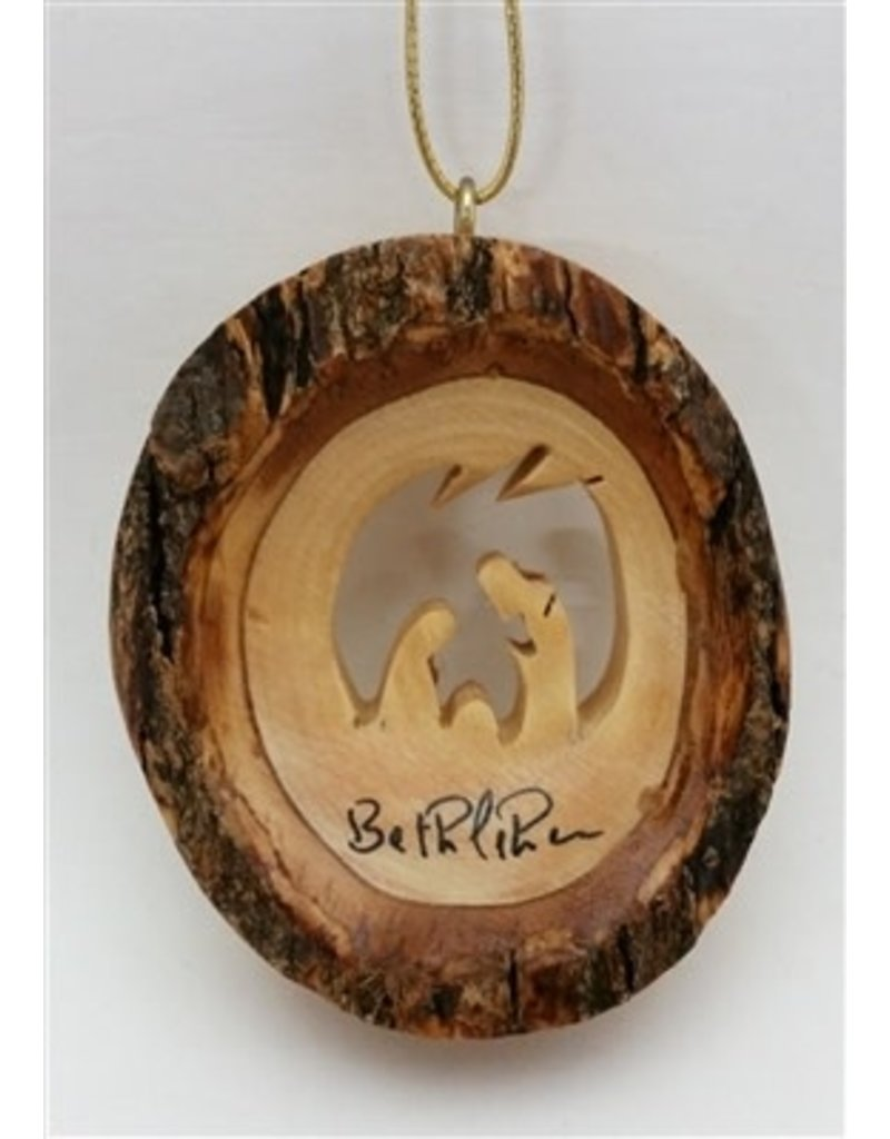 Round Bark Holy Family Ornament