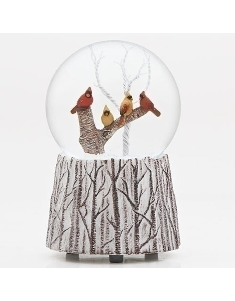 Cardinals on Branch Musical Snowglobe