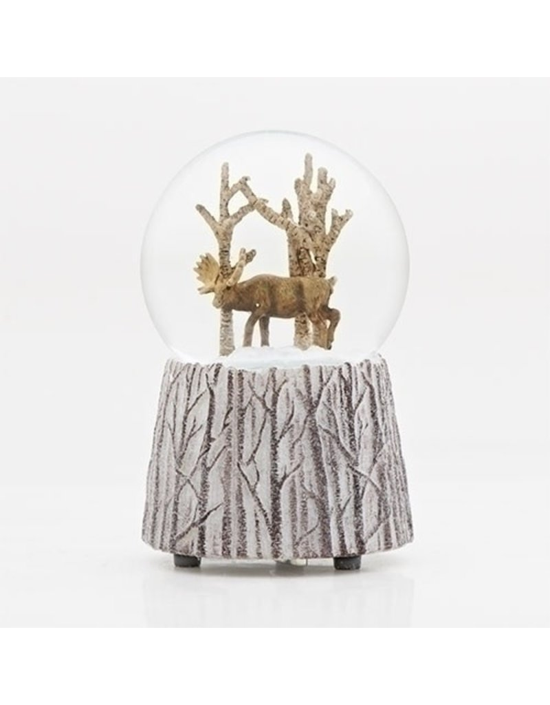Moose in Woods Musical Snowglobe