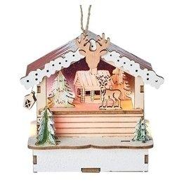 Lit Woodworks Deer Cabin Ornament