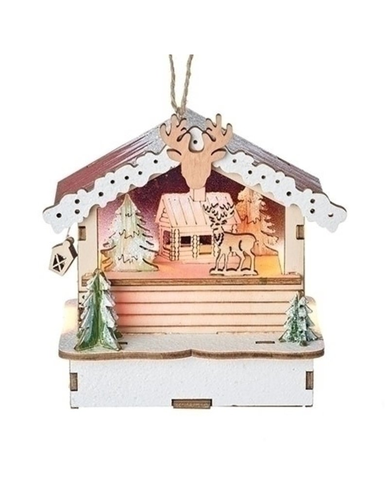 Lit Woodworks Deer Cabin Ornament